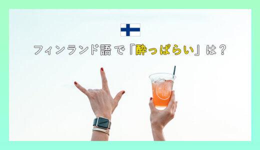 【ヨッパラリ?】フィンランド語の2つの「酔っ払い」表現を解説します。